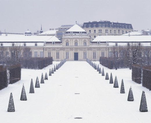 Stock Photo: 1269-1457 Facade of the Belvedere Palace in winter, Vienna, Austria