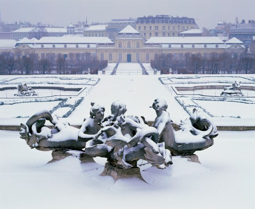 Facade of the Belvedere Palace in winter, Vienna, Austria : Stock Photo