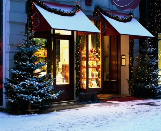 Stock Photo: 1269-1477 Shop front lit up at night, Vienna, Austria