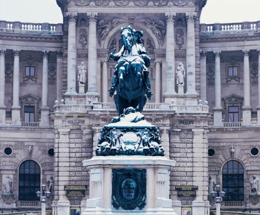 Statue outside the New Royal Palace, Vienna, Austria : Stock Photo
