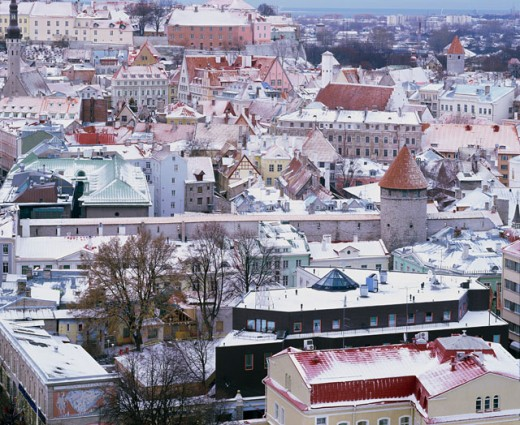 High angle view of buildings in Tallinn, Estonia : Stock Photo