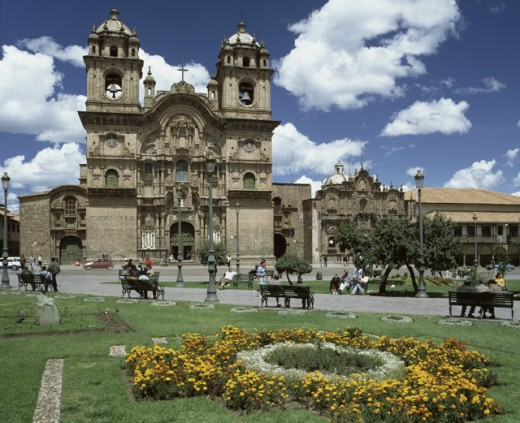 Stock Photo: 1269-1773 Facade of a church, La Compania, Plaza de Armas, Cuzco, Peru