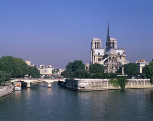 Stock Photo: 1269-180 Cathedral on the waterfront, Notre Dame Cathedral, Paris, France