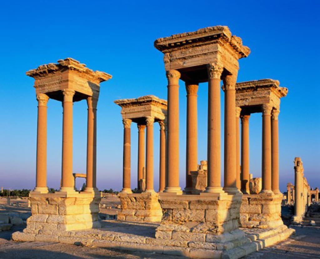 Stock Photo: 1269-1915 Tetrapylon Palmyra Syria