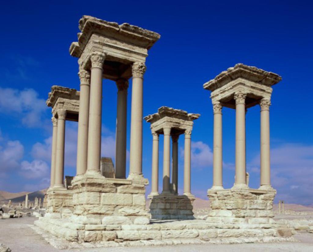 Stock Photo: 1269-1916 Tetrapylon Palmyra Syria