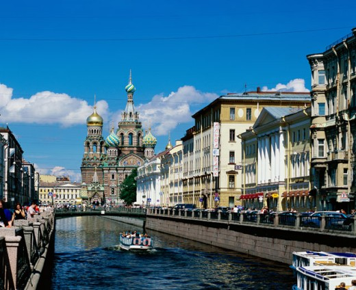 Buildings along a river, Church of the Resurrection of Christ, St. Petersburg, Russia : Stock Photo