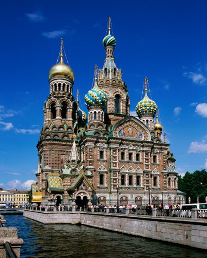 Stock Photo: 1269-1960 Low angle view of a church, Church of the Resurrection of Christ, St. Petersburg, Russia