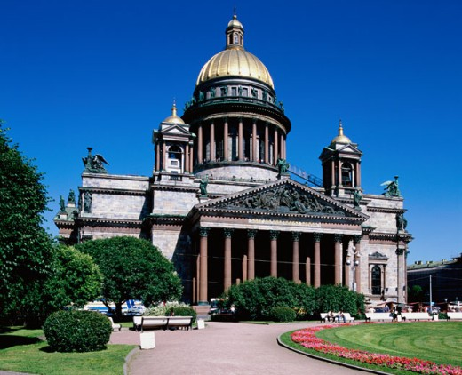 Facade of a cathedral, St. Isaac's Cathedral, St. Petersburg, Russia : Stock Photo