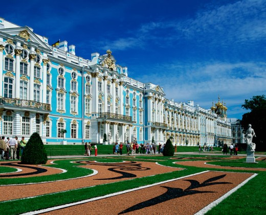 Tourists in front of a palace, Catherine Palace, St. Petersburg, Russia : Stock Photo