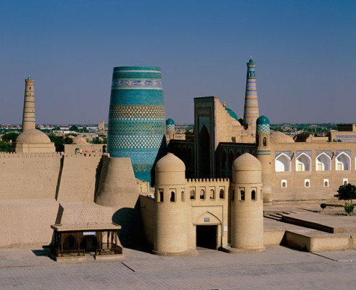 Stock Photo: 1269-1971 High angle view of a minaret in a fortress, Kalta Minor, Khiva, Uzbekistan