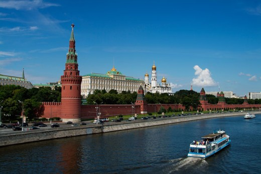 Buildings on the waterfront, Kremlin, Moscow, Russia : Stock Photo