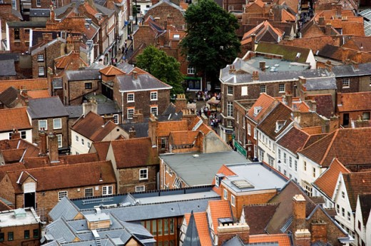 Stock Photo: 1269-2242 High angle view of buildings in a city, York, England
