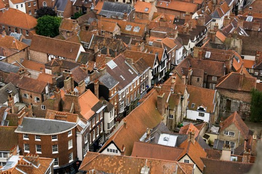 High angle view of buildings in a city, York, England : Stock Photo