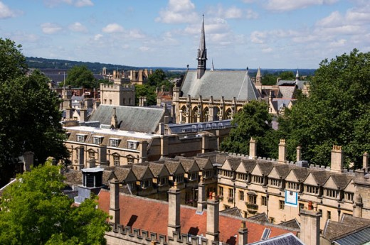 Stock Photo: 1269-2246 High angle view of a church, St. Mary's Church, Oxford, England