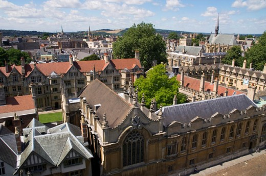 Stock Photo: 1269-2247 High angle view of a church, St. Mary's Church, Oxford, England