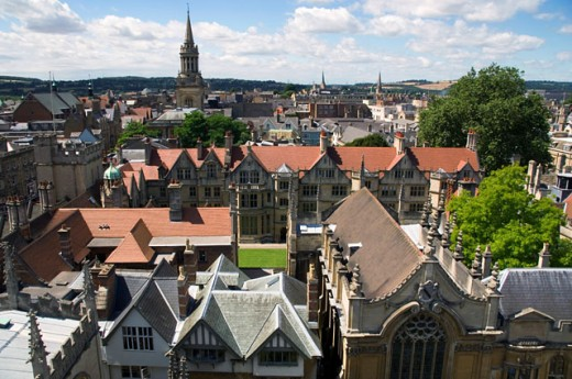 Stock Photo: 1269-2248 High angle view of a church, St. Mary's Church, Oxford, England