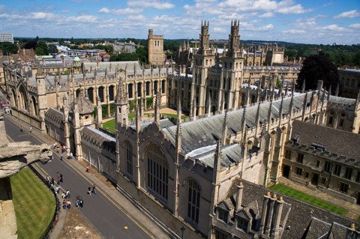 High angle view of a church, St. Mary's Church, Oxford, England : Stock Photo