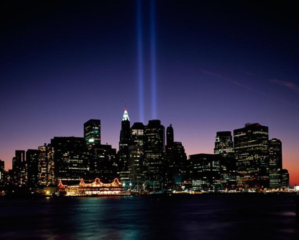 Buildings lit up at night, September 11th Memorial, New York City, New York, USA : Stock Photo