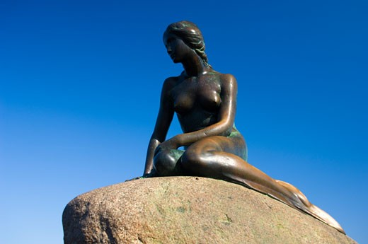 Stock Photo: 1269-2301 Low angle view of a statue on a rock, Little Mermaid, Copenhagen, Denmark