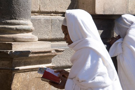 Two nuns praying at a church, St. George Church, Addis Ababa, Ethiopia : Stock Photo
