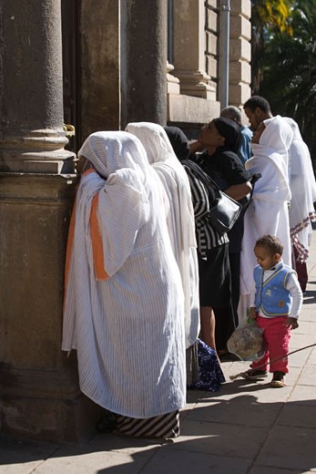 Group of nuns praying at a church, St. George Church, Addis Ababa, Ethiopia : Stock Photo