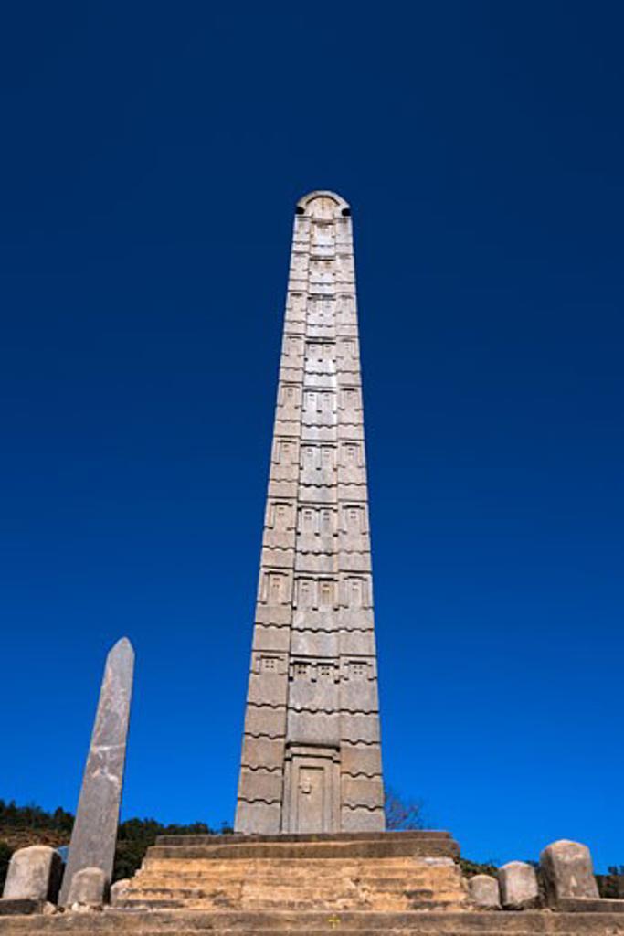 Low angle view of an obelisk, Obelisk of Axum, Axum, Ethiopia : Stock Photo