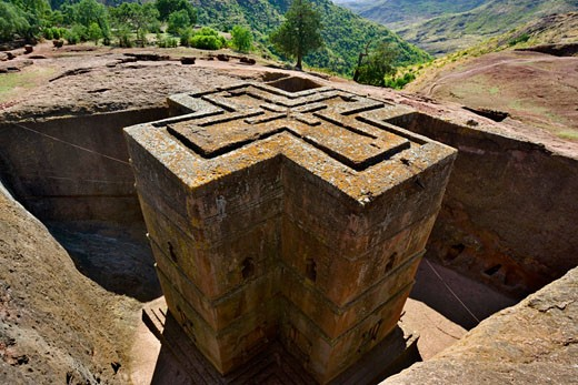 High angle view of a church, St. George Church, Lalibela, Ethiopia : Stock Photo