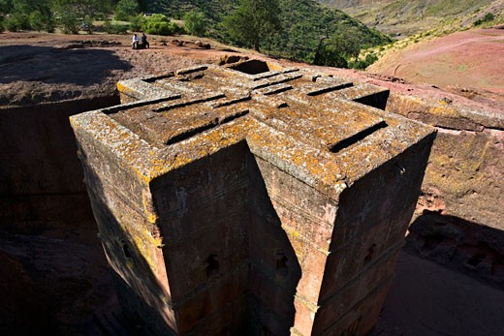 High angle view of a church, St. George Church, Lalibela, Ethiopia : Stock Photo