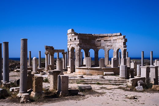 Ruins of an ancient market, Leptis Magna, Libya : Stock Photo