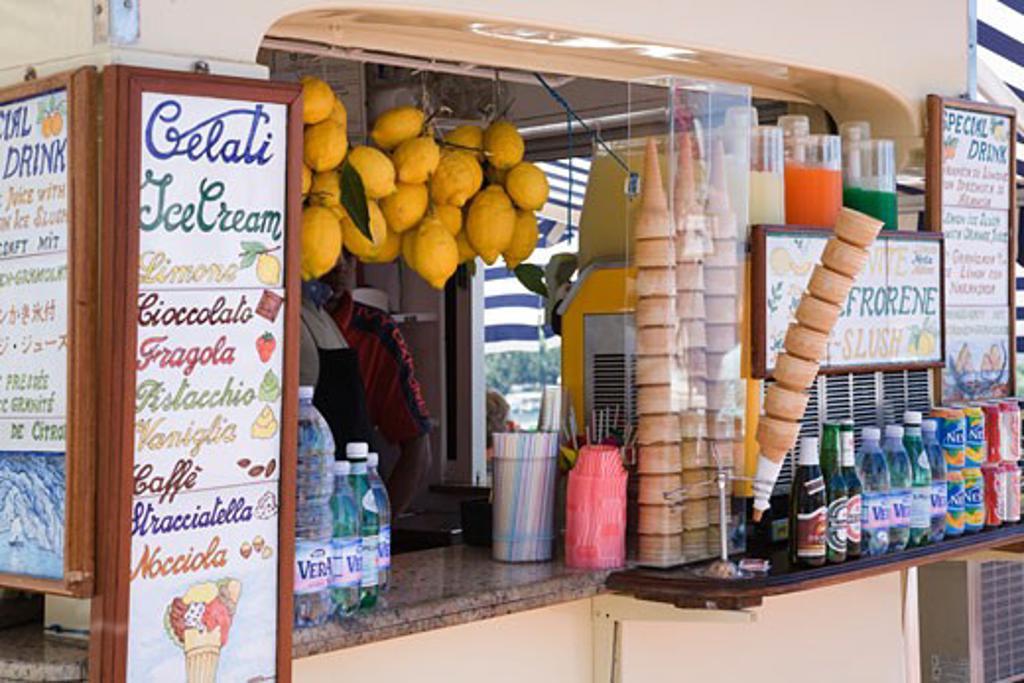 Stock Photo: 1269-2758 Food items at a stall, Capri, Bay of Naples, Naples Province, Campania, Italy