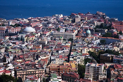 Aerial view of a cityscape, Naples, Naples Province, Campania, Italy : Stock Photo