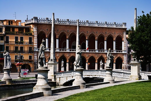 Stock Photo: 1269-2812 Footbridge across a canal, Prato Della Valle, Padua, Veneto, Italy