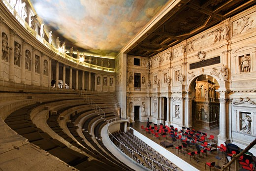 Interiors of a theater, Teatro Olimpico, Vicenza, Veneto, Italy : Stock Photo