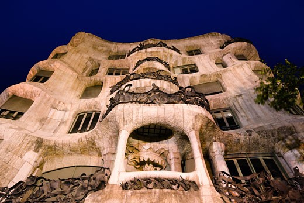 Low angle view of a building, La Pedrera, Barcelona, Catalonia, Spain : Stock Photo