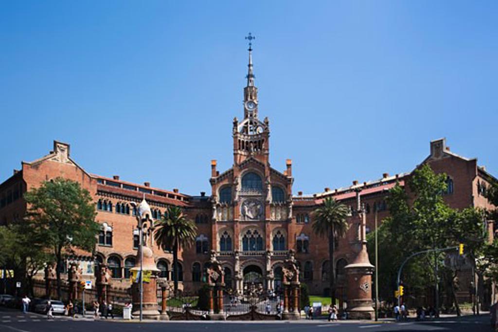 Facade of a hospital, Hospital De Sant Pau, Barcelona, Catalonia, Spain : Stock Photo
