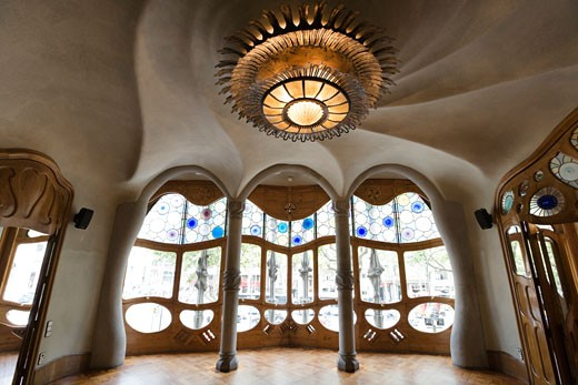 Interiors of a building, Casa Batllo, Barcelona, Catalonia, Spain : Stock Photo