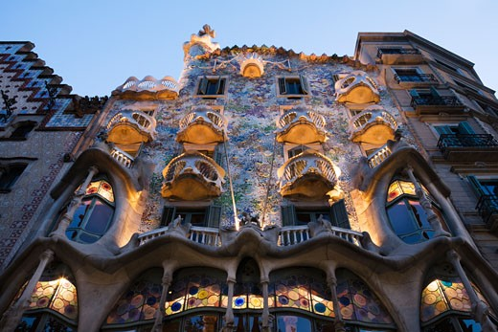 Spain, Catalonia, Barcelona, Casa Batllo, Low angle view of building : Stock Photo