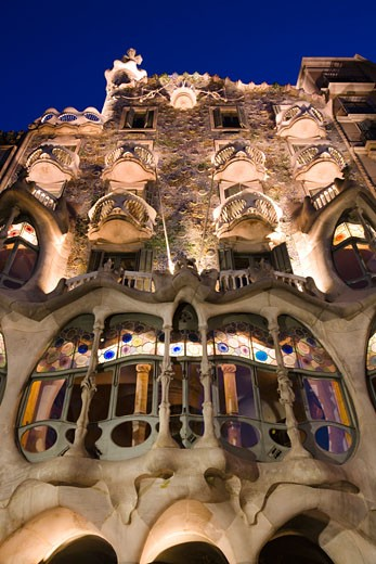 Low angle view of a building, Casa Batllo, Barcelona, Catalonia, Spain : Stock Photo