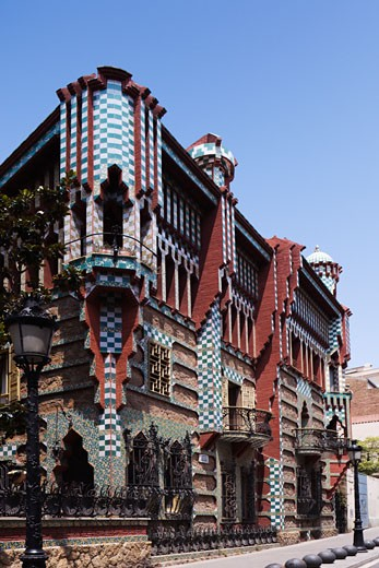 Building at the roadside, Casa Vicens, Barcelona, Catalonia, Spain : Stock Photo