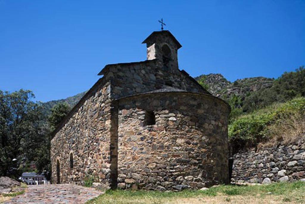 Stock Photo: 1269-2840 Church on a hill, Capella De Sant Andreu, Andorra La Vella, Andorra