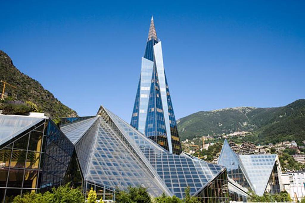 Glass buildings in a city, Andorra La Vella, Andorra : Stock Photo