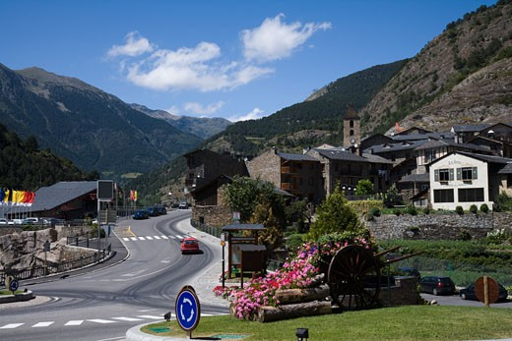 Buildings at the roadside, Andorra La Vella, Andorra : Stock Photo