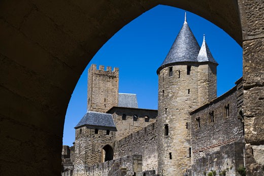 Low angle view of a castle, Chateau Comtal, Carcassonne, Languedoc-Rousillon, France : Stock Photo