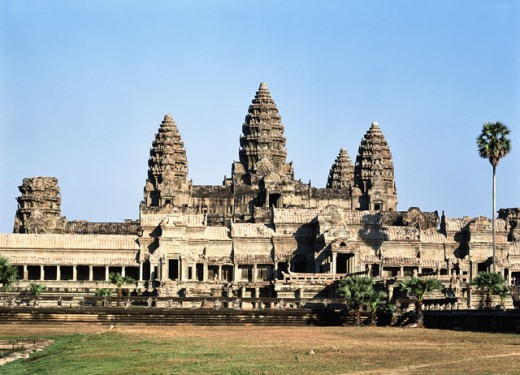 Facade of a temple, Angkor Wat, Cambodia : Stock Photo
