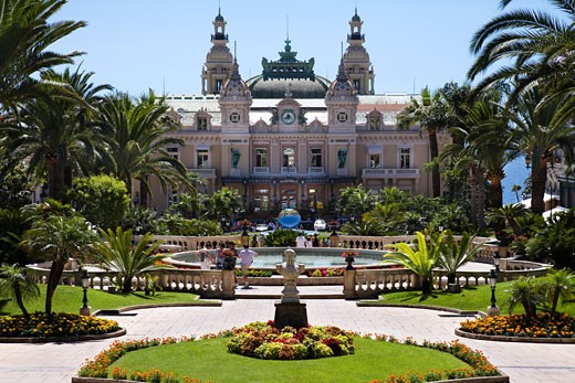 Formal garden in front of a casino, Grand Casino, Monte Carlo, Monaco : Stock Photo