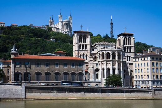 Facade of a cathedral, Lyon Cathedral, Basilica Notre Dame de Fourviere, Lyon, Rhone-Alpes, France : Stock Photo