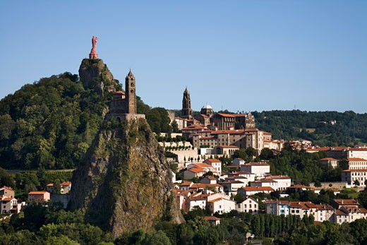 Stock Photo: 1269-2952C High angle view of a town, Le Puy, Haute-Loire, Auvergne, France