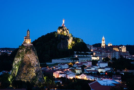 Stock Photo: 1269-2952D High angle view of a town, Le Puy, Haute-Loire, Auvergne, France