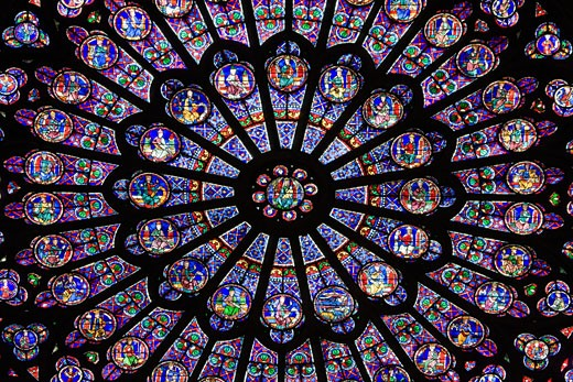 Stock Photo: 1269-2983C Rose window of a cathedral, Notre Dame, Paris, Ile-De-France, France