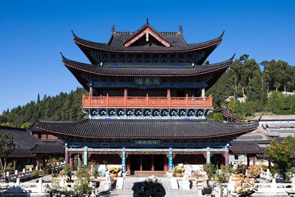 Stock Photo: 1269-3006 Facade of a palace, Mu Palace, Lijiang, Yunnan Province, China